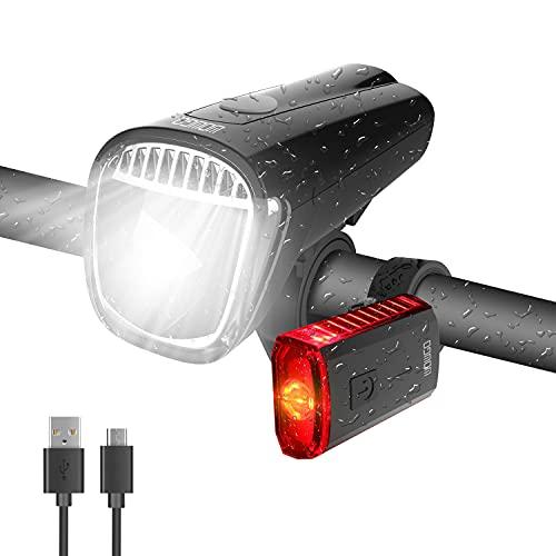 WOWGO LED Fahrradlicht Set, StVZO Zugelassen Fahrradbeleuchtung USB Wiederaufladbare Wasserdicht Fahrradlampensets mit Frontlicht und Rücklicht