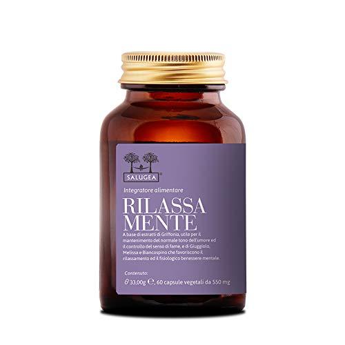 RILASSA MENTE Salugea - Integratore rilassante 100% naturale con Griffonia, Giuggiolo, Melissa e Biancospino - 60 capsule vegetali - Flacone in vetro scuro farmaceutico