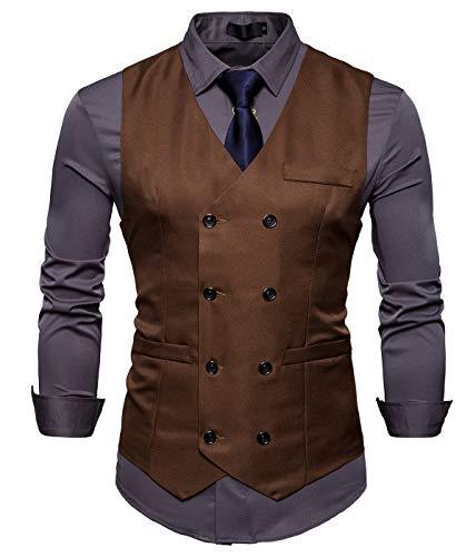 AIEOE - Chaqueta de Traje para Hombre Chaleco de Vestido sin Mangas Chalecos Casuales de Doble Botonadura de Color Sólido para Hombres - Café-ES 46-48