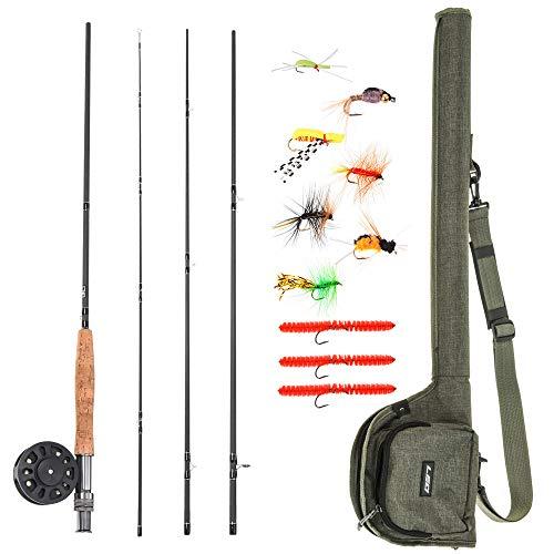 Lixada Combo Caña y Carrete para Pesca con Mosca 2.74m con 10pcs Anzuelos de Pesca con Mosca Kit Completo de Pesca para Principiantes