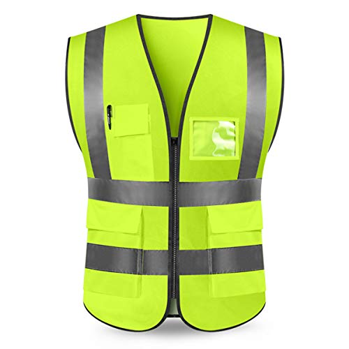 Kasthere High Visibility Reflective Safety Vest Construction Protective Vest with 5 Pockets and Front Zipper (Fluorescent Yellow,L)