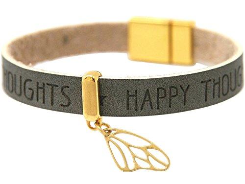 Gemshine - Damen - Armband - Schmetterling - Flügel - 925 Silber Vergoldet - Vergoldet - WISHES - Anthrazit - Grau - Magnetverschluss