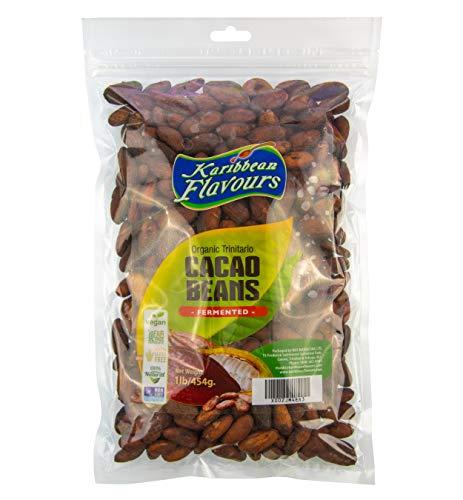 Karibbean Flavours Premium Organic Trinitario Cacao Beans (1lb) | From Trinidad And Tobago | World Renowned Finest Raw Cocoa | Fermented | Gluten Free | Vegan | Non GMO | Fair Trade (Cacao Beans)