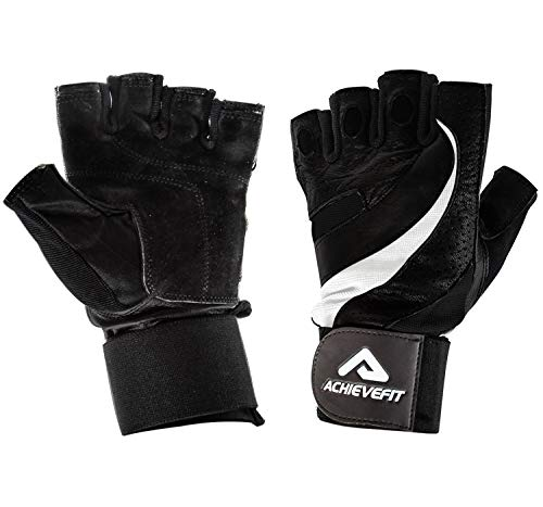 ACHIEVE FIT Weightlifting Gloves - Leather Palm for Fitness savvy Men & Women, Firm Grip, Control & Comfort for Weight lifting, Powerlifting, Crossfit Training, Gym Workout (Large, Standard)