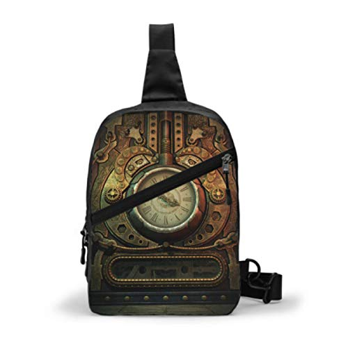 Shoulder Bag For Women 3d Computer Graphics Clock Steampunk Style Shoulder Bags For Women Lady Sling Bag Man Chest Bag With Adjustable Strap For Men Or Women Cycling Walking Hiking