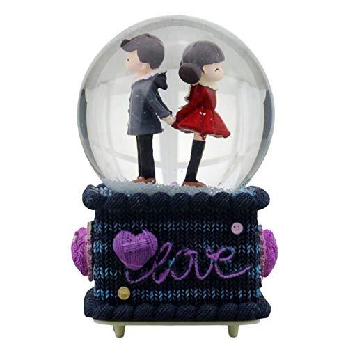 A/B Globo de Nieve Musical, Caja de música con luz LED para decoración del hogar, Caja de música para Pareja/Amante, Regalo para el día de San Valentín, cumpleaños, Aniversario