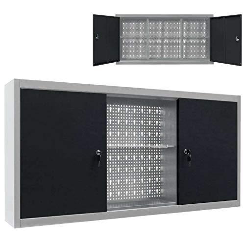 vidaXL Werkzeugschrank Wandmontage Industriell mit 3 Fachböden Lochwand Hängeschrank Metallschrank Werkstattschrank Metall Grau Schwarz