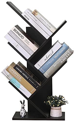 Etnicart Libreria ad Albero Moderna wenge autoportante Libri CD salvaspazio Legno MDF portaoggetti scaffali Comodino 40x20x77 scaffale Design Ufficio Ingresso Soggiorno