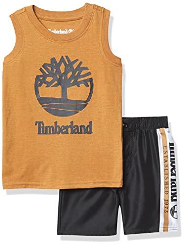 Timberland Baby Boys' 2 Pieces Muscle Top Shorts Set, Brown Sugar/deep Black, 12M