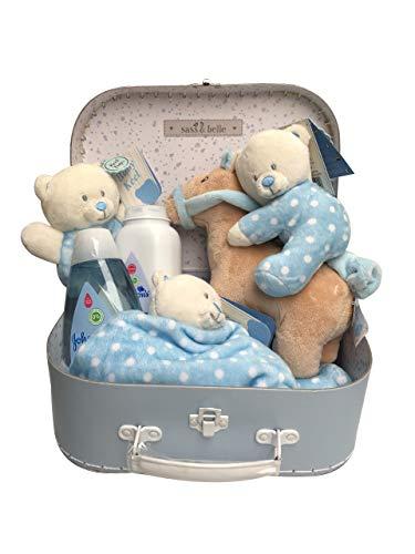 Bear Soft Rattle, Comforter, Plush, Toiletries Newborn Baby Gift Hamper Carry Case Suitcase Set - Blue - 25 x 19 x 8cm