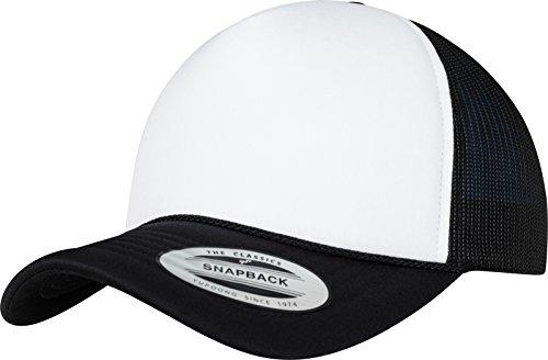 Flexfit Foam Trucker Curved Visor Cap, Black/Wht, one Size
