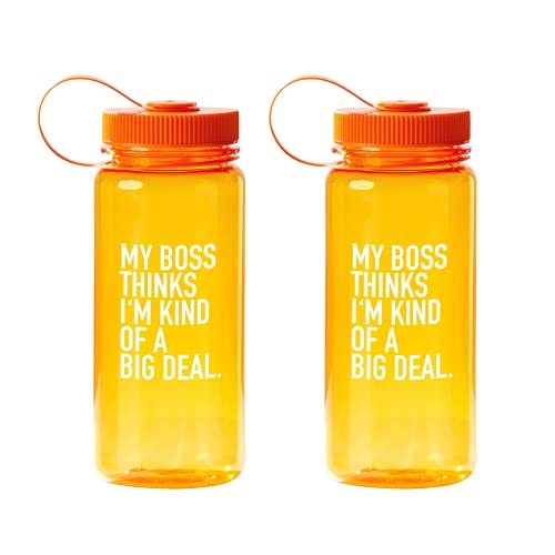 Cheersville 21 oz. Value Wide Mouth Wellness Plastic Water Bottle - 2 Pack Orange - Employee Appreciation and Motivation