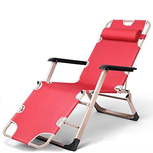 ZHUAN Sillón Ajustable, Plegable reclinable con reposacabezas Cojín extraíble Sling Mecedora Patio Exterior Playa Jardín Camping Sillas de Gravedad Cero