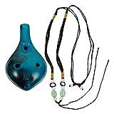 heallily 6 buche ocarina portatile strumento di musica ocarina regalo con la corda e la borsa per principianti professionale performer (blu)
