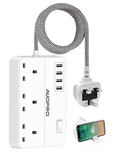 Surge Protected Extension Lead 2M, AUOPRO 3 Way Power Strip with 4 USB Slots & Phone Holder, 600 Joules Surge Protection, 2 Metre Braided Cord, Compact Plug Extension for Home Offfice Travel