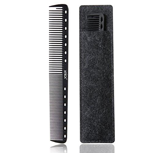xnicx 605 nero barbiere pettine,coda pettini, carbonio pettine professionale di styling capelli, pettine da taglio, stylist parrucchiere barbiere pettine