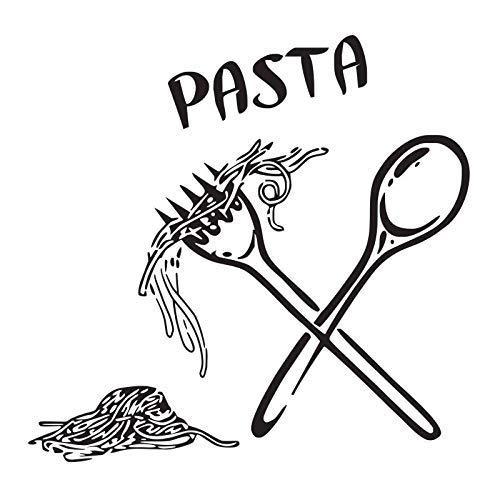 Calcomanías De Pared De Pasta, Cucharas De Comida, Tenedores, Calcomanías De Pared, Azulejo De Cocina De Café, Vinilo, Decoración De Pared Decorativa 56X57Cm