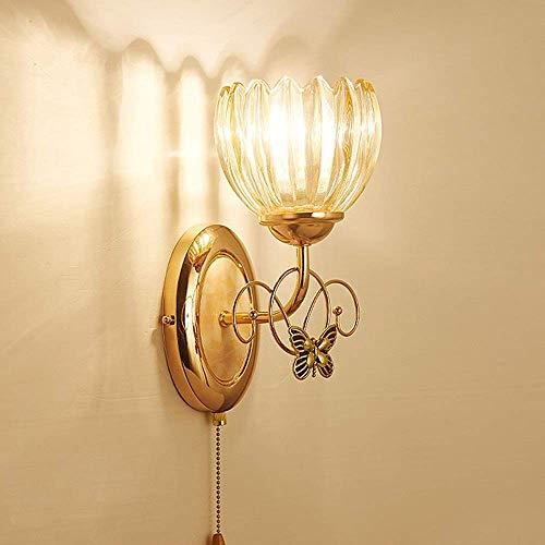 DJY-JY Lámpara de pared de cristal para dormitorio o mesita de noche, sala de estar, fondo de televisión, lámpara de pared de cristal creativa, pasillo de hotel, iluminación de alto gusto