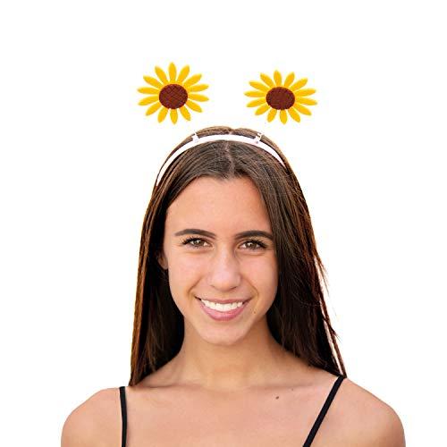 Oblique Unique® Haarreif mit Wackel Sonnenblumen Haarreifen Kostüm Accessoire für Karneval Fasching Motto Party Gelb Braun