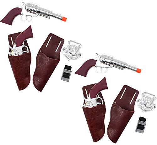 com-four® Conjunto de 12 Piezas con Utensilios de Vaquero con Pistolas, Fundas, Marcas y Cinturones: Accesorios de Disfraces para Mardi Gras y Halloween