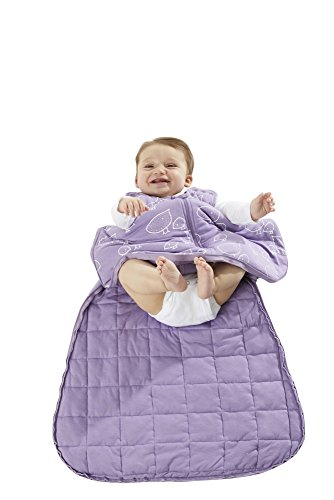 GUNAMUNA GunaPOD Bamboo Viscose Duvet Baby Sleep Bag with WONDERZiP, 2.6 TOG, Purple Baby Chicks, 9-18 Months