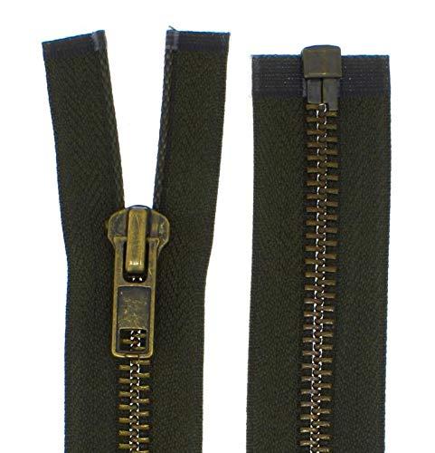 FIM Cremallera metálica gruesa nº 8 bruñida, divisible para chaquetas de cuero, etc. Color: 6 – verde oliva oscuro (328), 75 cm de largo