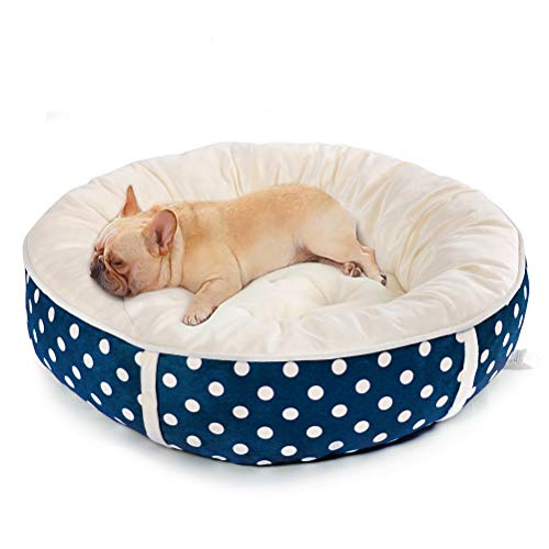 Calming Donut Cuddler Dog Bed Cat Bed - Reversible Pet Bed for Small or Medium Dogs and Cats,Comfortable Cushion Bed with Polka Dot,Non-Slip Bottom(Blue)