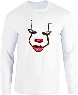Clown Face Horror Scary Movie Halloween Costume Full Long Sleeve Tee T-Shirt