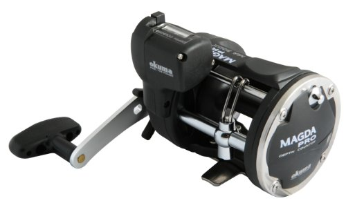 Okuma Magda Pro Line Counter Levelwind Trolling Reel, Small, Black/Silver, MA-30DX