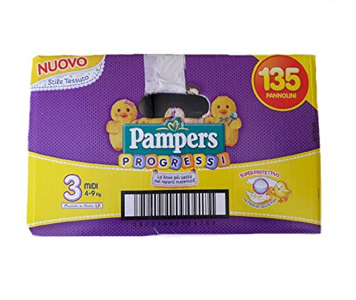 135 PANNOLINI PAMPERS PROGRESSI TG. 3 (4-9 KG)