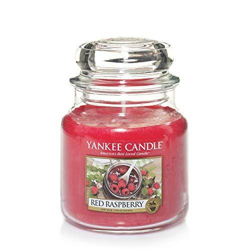 Yankee Candle bougie jarre parfumée | moyenne taille | Framboise rouge | jusqu'à 75 heures de...