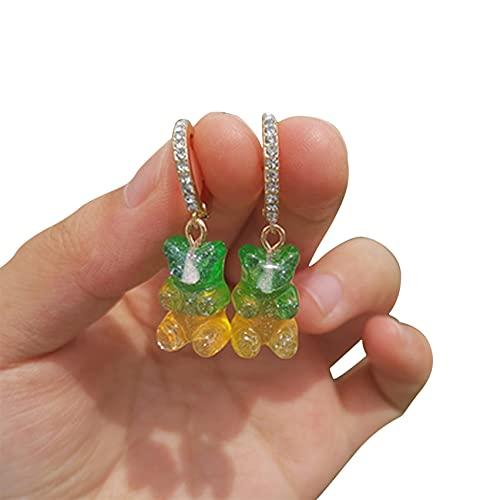 LPOQW Pendientes para mujer, diseño de oso de golosinas de resina, con diseño de oso de dibujos animados, para mujeres, mujeres, niñas, 3 #