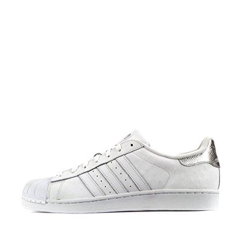 adidas Superstar Gründer, Herren Turnschuhe - weiß/Silber Metallic, EU 43