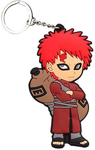 KroY PecoeD Japanisches Anime PVC Silikon Schlüsselanhänger, Naruto eine Punch Man Hitman Reborn! Schwarz Butler Weich Schlüsselanhänger Sammlerstück Anhänger Geschenk für Anime Fans - Gaara 01