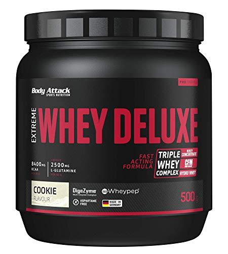 Body Attack Extreme Whey Deluxe, biscotti, proteina in polvere con aminoacidi e Triplo-Whey-Complex con Whey Isolate, a basso contenuto di zuccheri e di grassi, lattina da 500g, Made in Germany