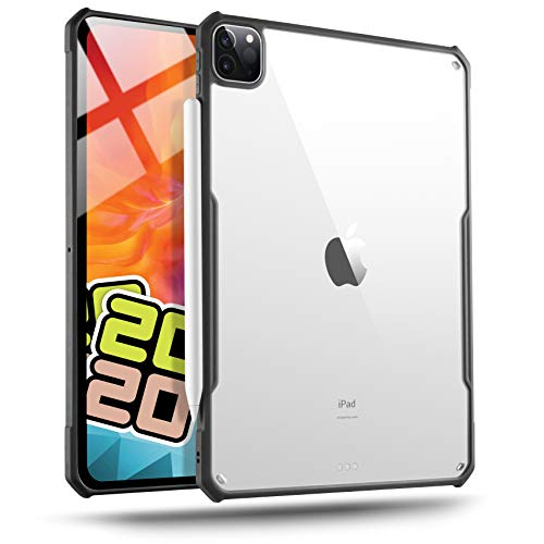 TineeOwl iPad Pro 12.9 (2020, 4th Generation) Ultra Slim Clear Case, Supports Apple Pencil Wireless Charging, Flexible TPU, Absorbs Shock, Lightweight, Thin (Black)