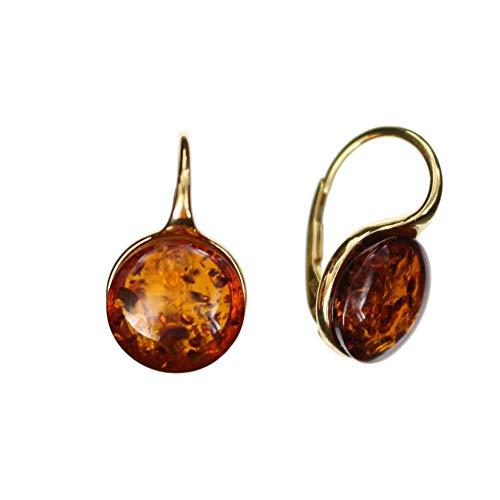 Elegante moderne Ohrringe aus Bernstein und 925/000 Sterling Silber vergoldet von Artisana-Schmuck