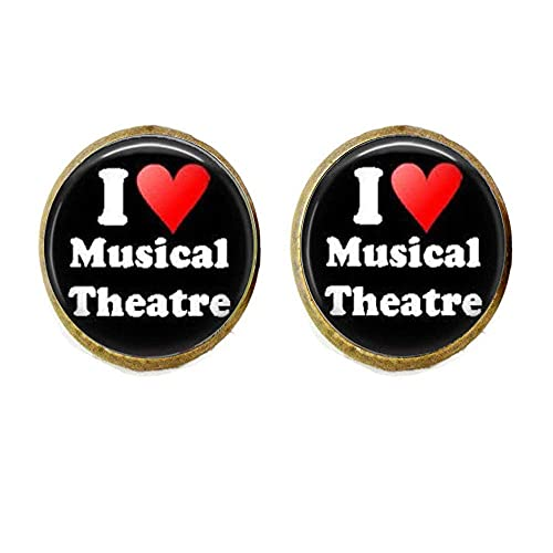 Pendientes de teatro musical con texto en inglés 'I Love Musical Theater Broadway Musicales musicales Arte de actuación Arte de vidrio Joyería de fotos Regalos personalizados