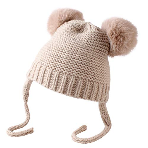 ZoneYan Baby Mütze Winter Bommel, Baby Jungen Mädchen Mütze Winter Beanie Strickmütze Unifarbe Kinder Winter mütze Cute Bear Hut