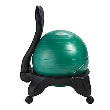 Gaiam Balance Ball Chair – Exercise Stability Yoga Ball Premium Ergonomic Chair for Home and Office Desk with Air Pump, Exercise Guide and, Green