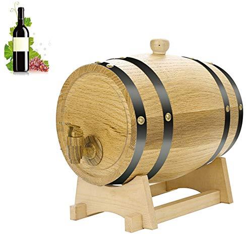 WHYYXA Eichen-Whisky-Spender, Holzwein-Fass, auslaufsicheres Weinlager mit Holzständer und Zapfhahn für Wein/Tequila/Spirituosen,5L