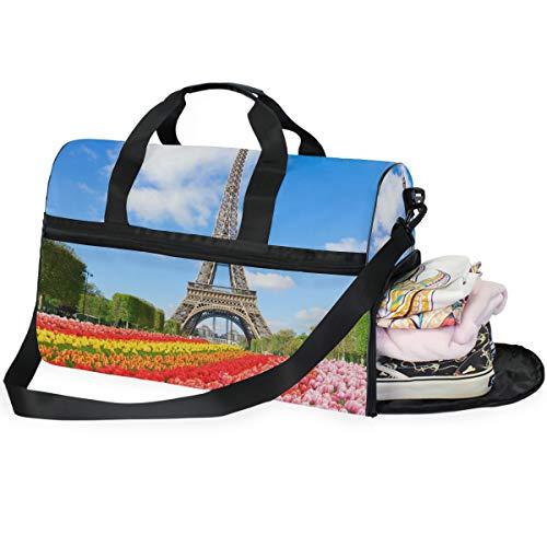 DOSHINE Borsone da Viaggio Parigi Torre Eiffel Tulipani Flower, Borsone Sportivo da Palestra di Grande capacità, per Uomo e Donna