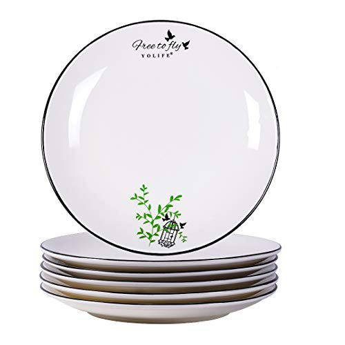 Yelife 8-Inch Porcelain Plates, Dessert Plate for Dinner,Serving Plates Set of 6 Salad Plates, Happy Bird