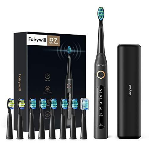 Fairywill Electric Toothbrush for Adults with 5 Modes, Smart Timer, 8 Brush Heads, Fully Rechargeable with One 4 Hr Charge...