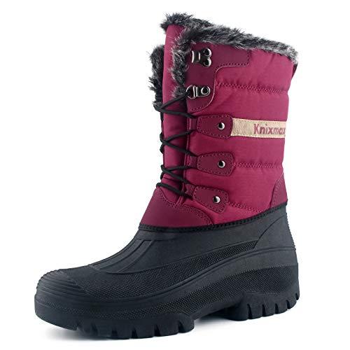 Knixmax Botas de Nieve para Mujer, Zapatos de Invierno Forro de Piel Cálidas Calientes y Impermeables Antideslizante, para Senderismo, Trekking, Caminar, Trabajo, Casuales, Aire Libre, Rojo EU 41