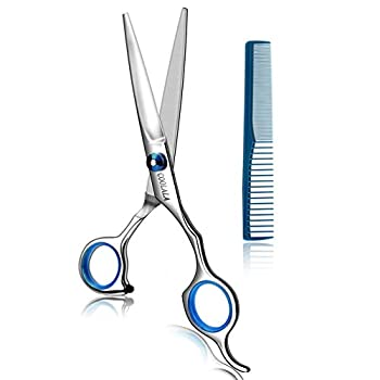 COOLALA Stainless Steel Hair Cutting Scissors 6.5 Inch Hairdressing Razor Shears Professional Salon Barber Haircut Scissors One Comb Included Home Use for Man Woman Adults Kids Babies