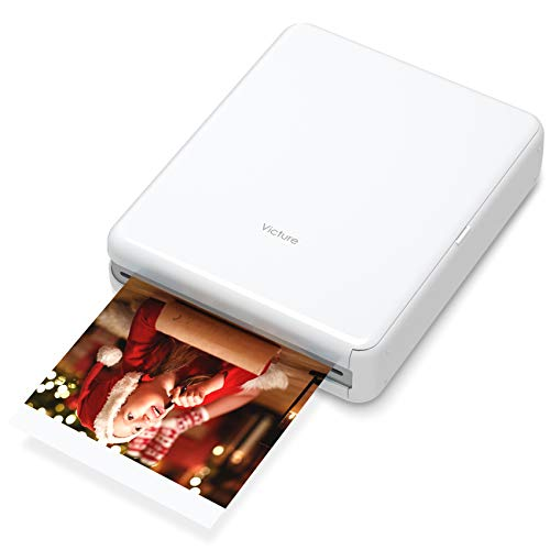 "Victure 3x3"" Portable Photo Printer, Bluetooth Connection, Rechargeable, Including 10 Pieces of Photo Paper, Android iOS Tablet Devices Compatible, no Ink, Wireless,4 Pass Technology"