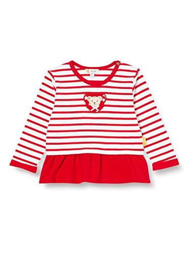 Steiff Baby-Mädchen mit süßer Teddybärapplikation Sweatshirt, Rot (Tango RED 4008), 074