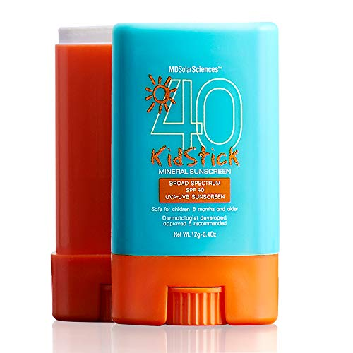 MDSolarSciences Mineral SunScreen KidStick SPF 40 Sunscreen - Hypoallergenic, Water-Resistant Formula Glides on Smoothly - Protects Skin with Zinc Oxide - 0.4 Oz.