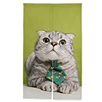 Chovy のれん ネコ 猫 かわいい 可愛い 間仕切り おしゃれ 目隠し 遮光 暖簾 ロング 断熱 玄関 キッチン リビング カーテン 部屋 北欧 和風 突っ張り棒付き